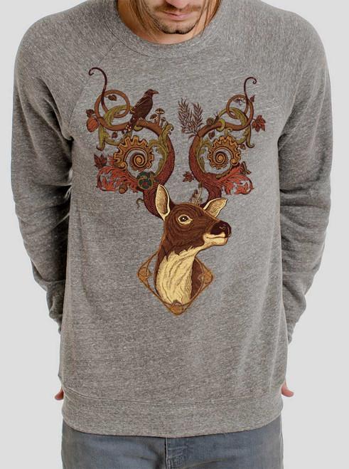 Antlers - Multicolor on Heather Grey Triblend Men's Sweatshirt