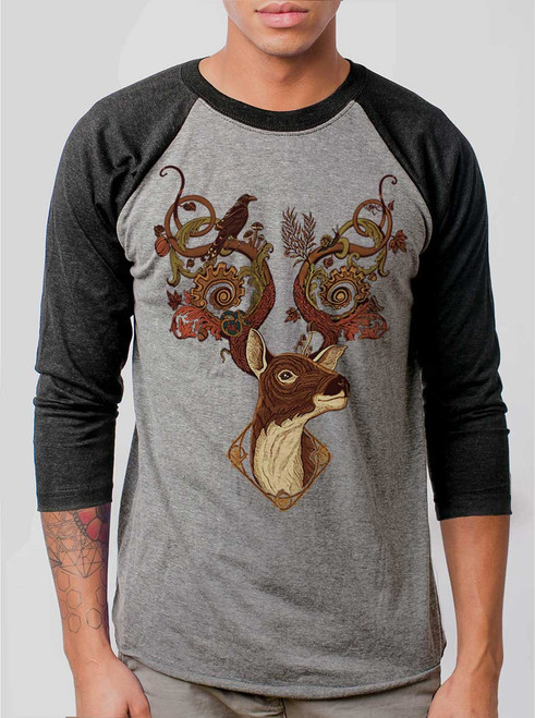 Antlers - Multicolor on Heather Grey and Black Triblend Raglan