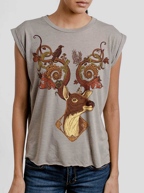 Antlers - Multicolor on Heather Stone Women's Rolled Cuff T-Shirt
