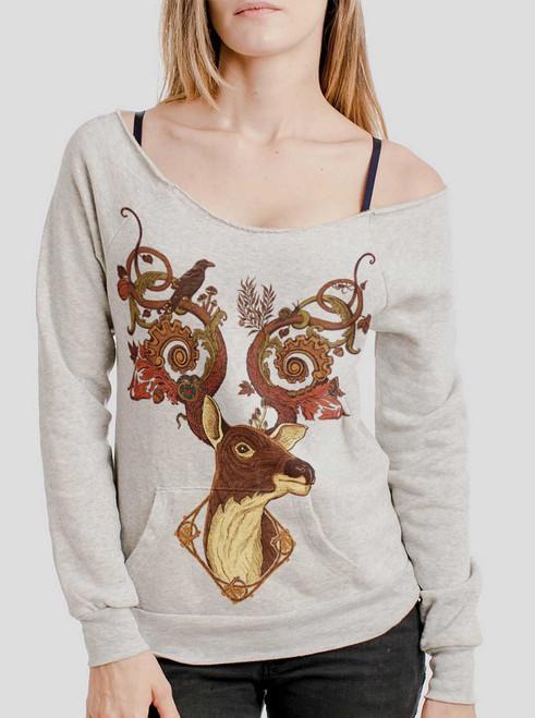 Antlers - Multicolor on Oatmeal Triblend Women's Maniac Sweatshirt