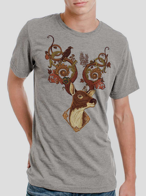 Antlers - Multicolor on Heather Grey Triblend Mens T Shirt