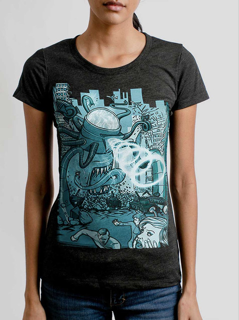 Invasion - Multicolor on Heather Black Triblend Womens T-Shirt