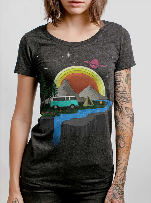 Camping  - Multicolor on Heather Black Triblend Womens T-Shirt