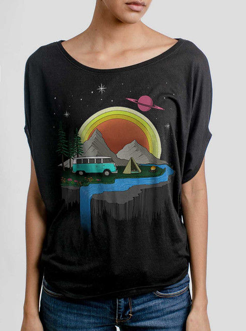 Camping - Multicolor on Black Women's Circle Top