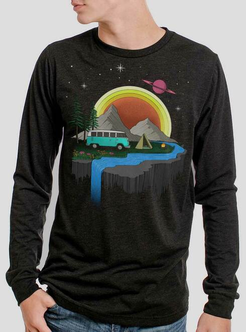 Camping - Multicolor on Heather Black Triblend Men's Long Sleeve