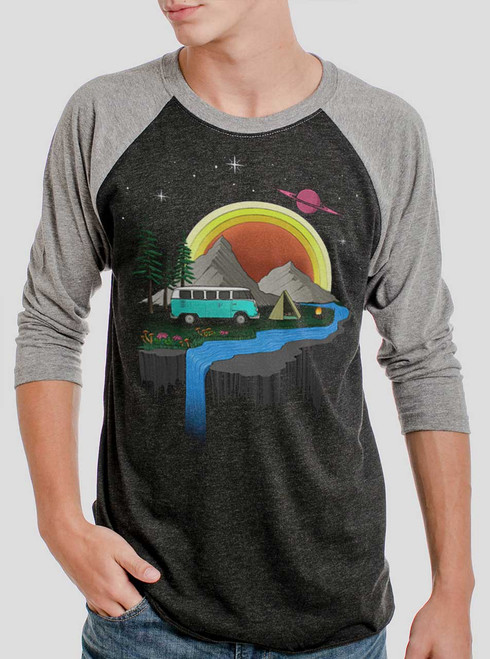 Camping - Multicolor on Heather Black and Grey Triblend Raglan