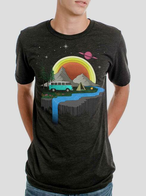 Camping - Multicolor on Heather Black Triblend Mens T Shirt