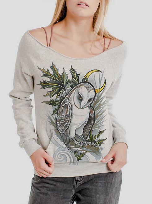 Barn Owl - Multicolor on Oatmeal Triblend Women's Maniac Sweatshirt