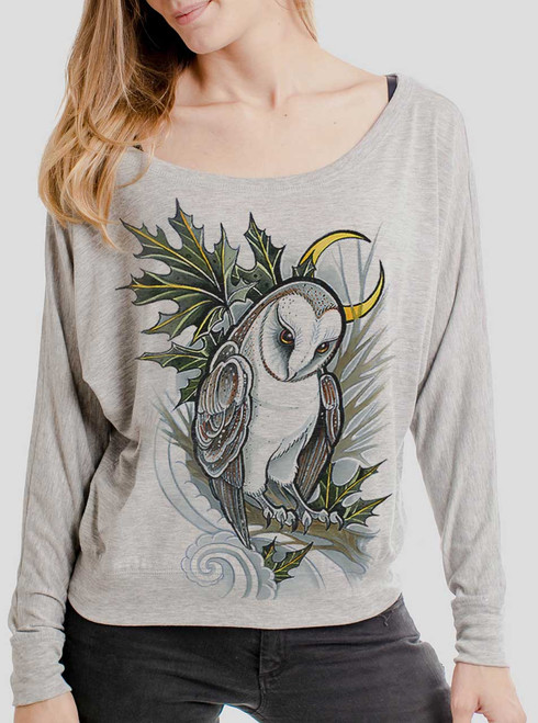 Barn Owl - Multicolor on Athletic Heather Women's Long Sleeve Dolman