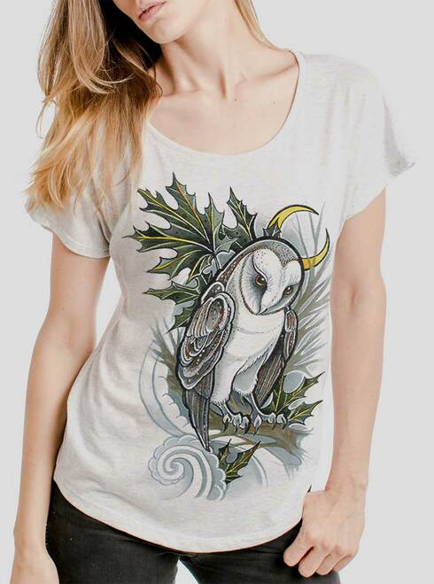 Barn Owl - Black on Heather White Triblend Womens Dolman T Shirt