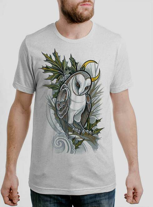 Barn Owl - Multicolor on Heather White Triblend Mens T Shirt