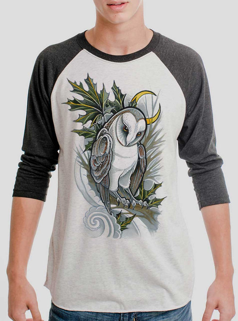 Barn Owl - Multicolor on Heather White and Black Triblend Raglan