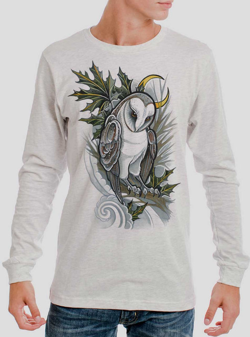 Barn Owl - Multicolor on Heather White Men's Long Sleeve