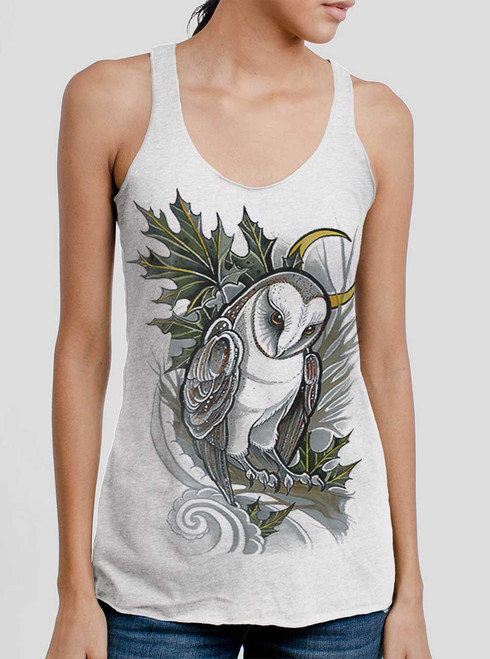 Barn Owl - Multicolor on White Triblend Womens Racerback Tank Top
