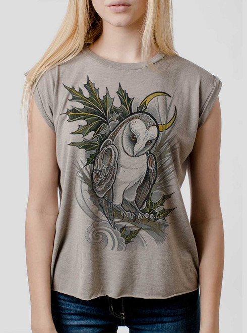 Barn Owl - Multicolor on Heather Stone Women's Rolled Cuff T-Shirt
