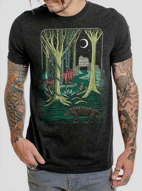 Jungle - Multicolor on Heather Black Triblend Mens T Shirt
