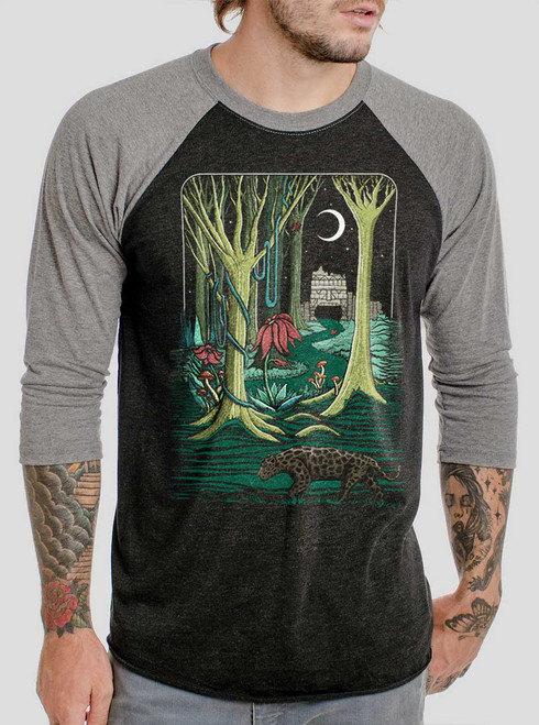 Jungle - Multicolor on Heather Black and Grey Triblend Raglan