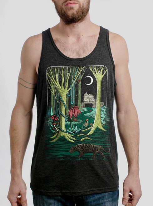 Jungle - Multicolor on Heather Black Triblend Mens Tank Top