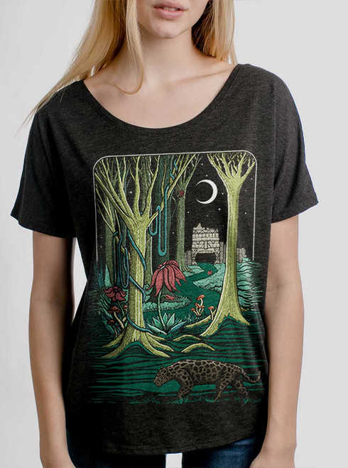 Jungle - Multicolor on Heather Black Triblend Womens Dolman T Shirt