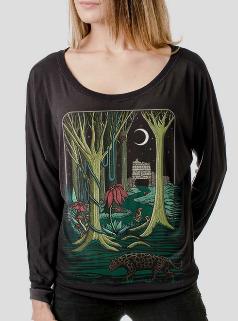 Jungle - Multicolor on Black Women's Long Sleeve Dolman