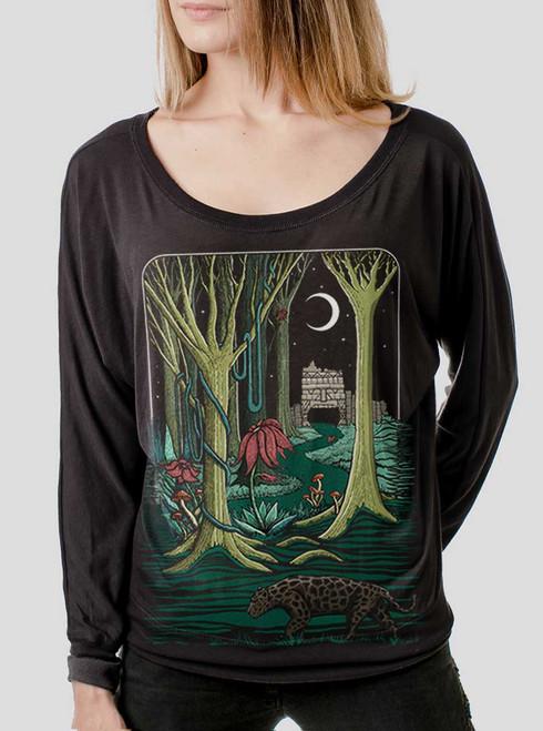 Jungle - Multicolor on Black Women's Long Sleeve Dolman