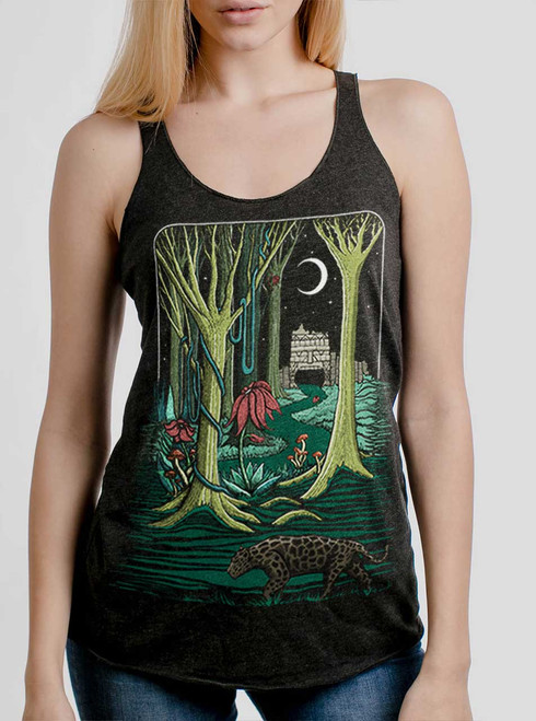 Jungle - Multicolor on Heather Black Triblend Womens Racerback Tank Top