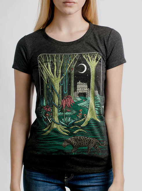 Jungle - White on Heather Black Triblend Womens T-Shirt
