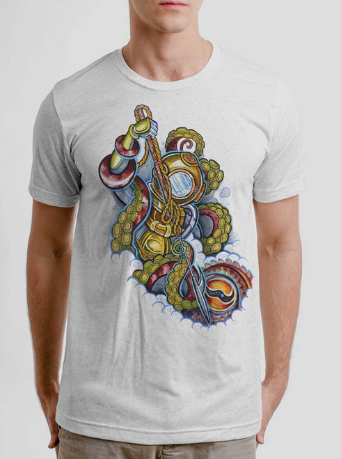 Scuba Diver - Multicolor on Heather White Triblend Mens T Shirt