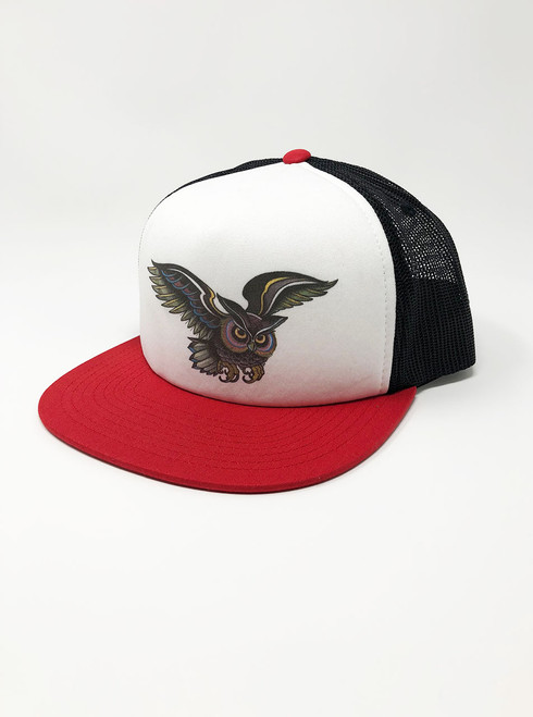 Little Owl - White with Red and Black Snapback Hat