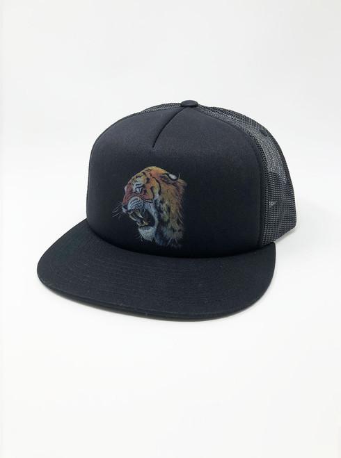 Tiger's Head -  Black Snapback Hat