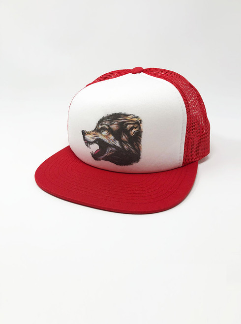 Wolf's Head - White with Red Snapback Hat
