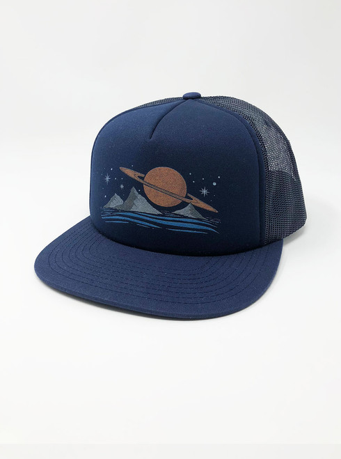 Saturn - Navy Snapback Hat