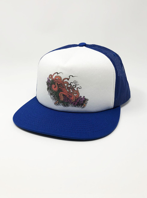 Octopus - White with Royal Snapback Hat