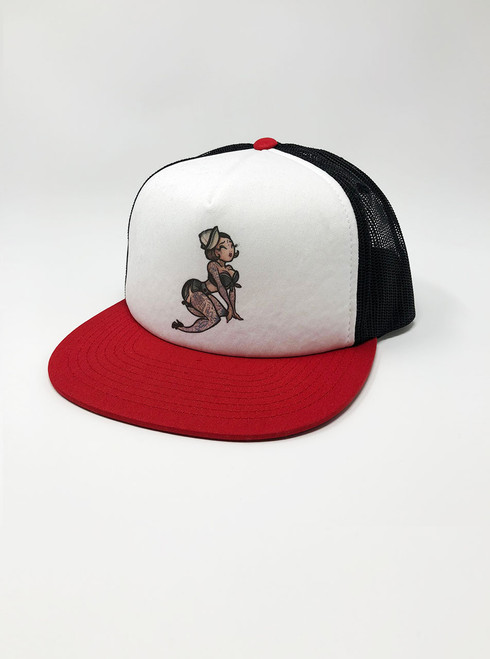 Pin Up - White with Red and Black Snapback Hat