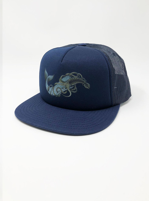 Whale vs Squid - Navy Snapback Hat