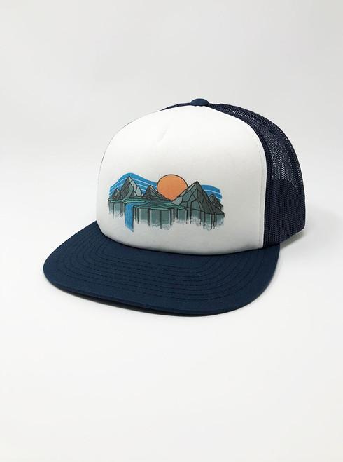 Sunrise Waterfall - White with Navy Snapback Hat