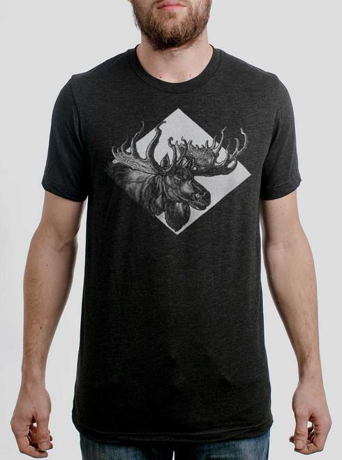 Moose - Multicolor on Heather Black Triblend Mens T Shirt