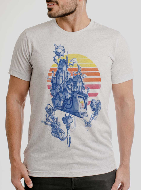 Home - Multicolor on Heather White Triblend Mens T Shirt