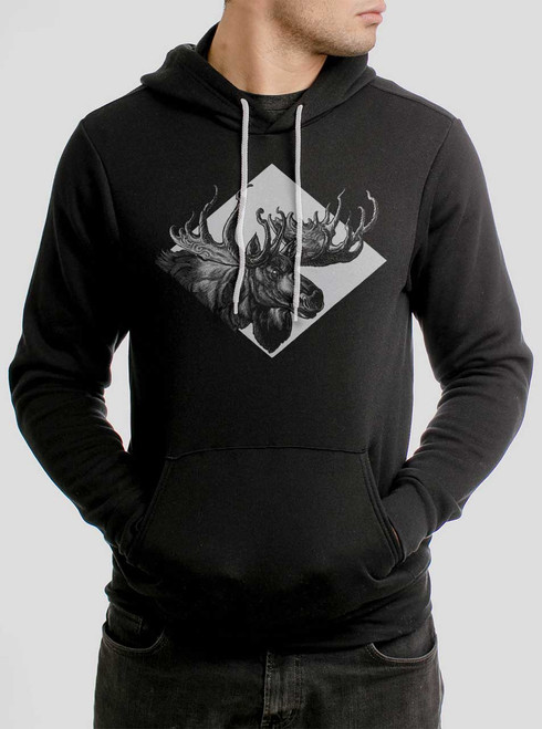 Moose - White on Black Men's Pullover Hoodie