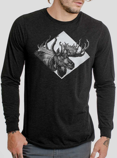 Moose - White on Heather Black Triblend Men's Long Sleeve