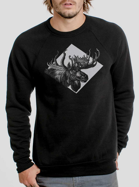 Moose - White on Black Men's Sweatshirt