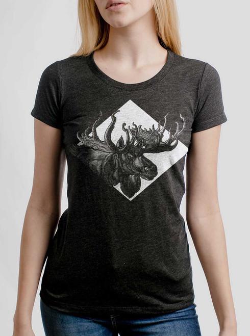 Moose - White on Heather Black Triblend Junior Womens T-Shirt