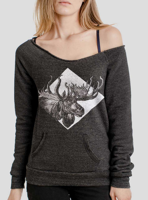 Moose - Multicolor on Charcoal Triblend Women's Maniac Sweatshirt