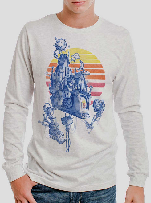 Home - Multicolor on Heather White Men's Long Sleeve