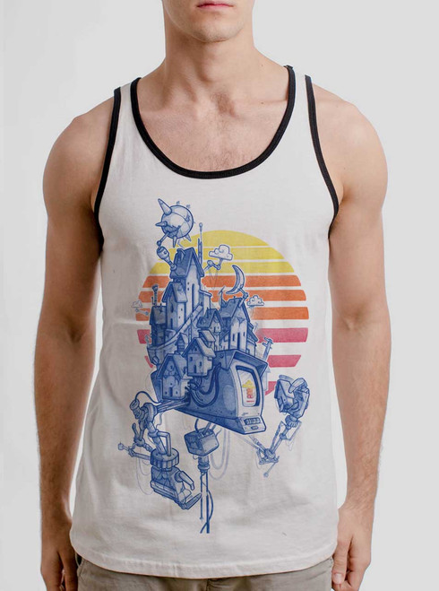 Home - Multicolor on White with Black Mens Tank Top