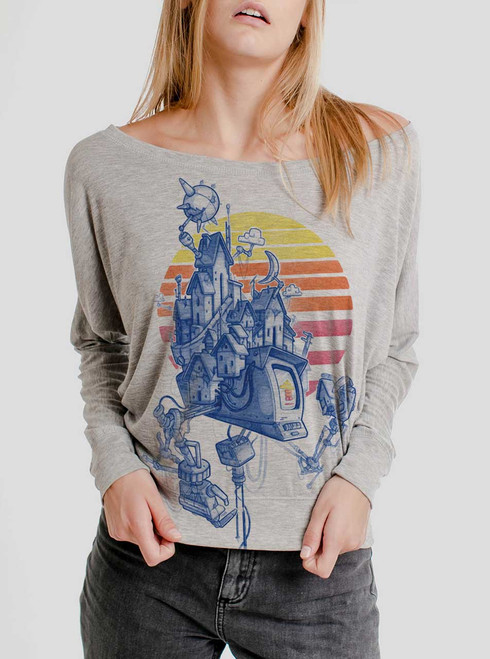 Home - Multicolor on Athletic Heather Women's Long Sleeve Dolman