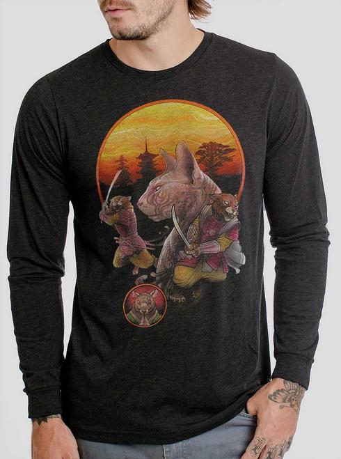 Samurai Cats - Multicolor on Heather Black Triblend Men's Long Sleeve