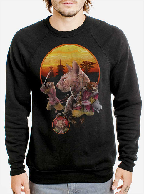 Samurai Cats - Multicolor on Black Men's Sweatshirt