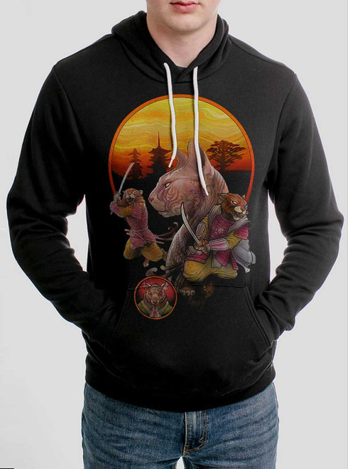 Samurai Cats - Multicolor on Black Men's Pullover Hoodie