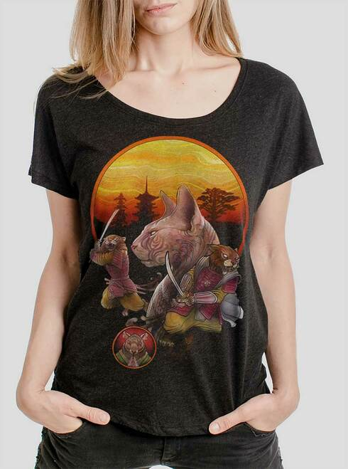 Samurai Cats - Multicolor on Heather Black Triblend Womens Dolman T Shirt